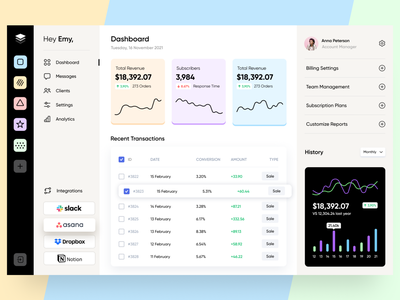 Dashboard Company CRM Management App minimal ui ux design website fintech saas billing plan subscription transactions onboarding files team management app finance financial admin dashboard