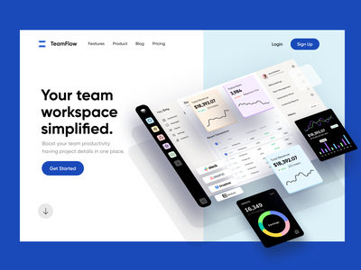 SaaS Dashboard Landing Page Design in Webflow user interface software clean web app design charts page product data workspace management ux ui website app analytics fintech landing page dashboard webflow saas