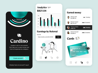 Financial Mobile App fintech application savings revenue expenses subscription finance cards analytics app design ui ux minimal branding illustration design financial app app mobile financial