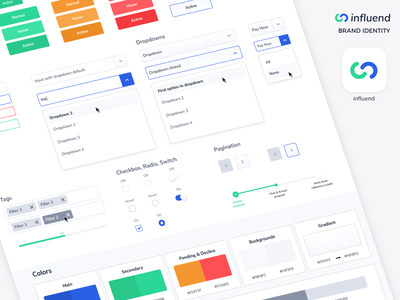 Brand Identity Logo elements ui input tags identity designer pagination filters gradient dropdown buttons freelancer agency branding agency design logo design brand design branding logo brand identity identity brand