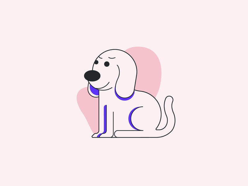 Doggo circle character home emotion face simple illustration shapes lines dog