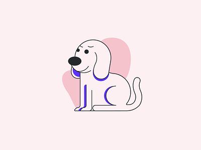 Doggo circle character home emotion face simple illustration shapes lines dog