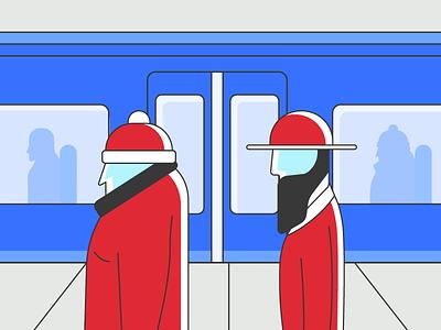 Underground metro flat scene underground character simple illustration