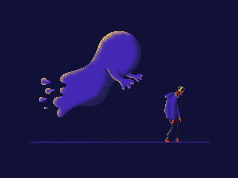 Chasing ghost chasing headphones dark illustration