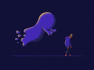 Chasing ghost chasing headphones dark illustration