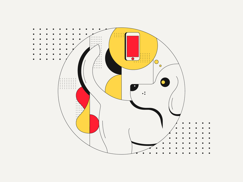 Doggo Thoughts dogs design flat character illustration dog illustration smartphone phone cute lines simple think dog doggo