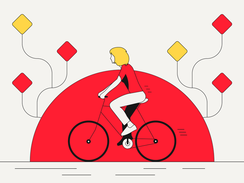 Cycling bdd simple lines red illustrator illustration minimalistic bike cycle