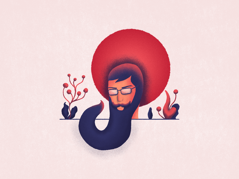 Thinking about outer space light red chill georgia shades grain beard illustration