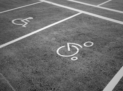 Disabled icon on a parking space