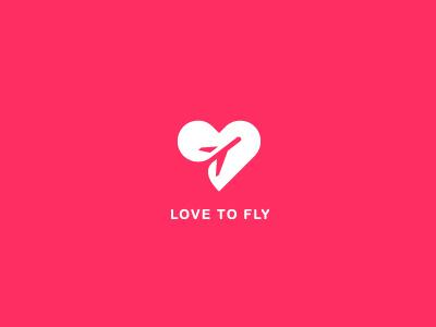 Love to fly logo concept heart love fly icon vector logo honeymoon plane