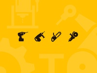 Electric hand tools icons