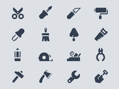 Tools icons tools icon vector pixel pencil wood planer scissors brush hammer roller saw screw driver ax