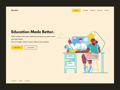 Educated UI Design landing page illustration figma webdesign uiux