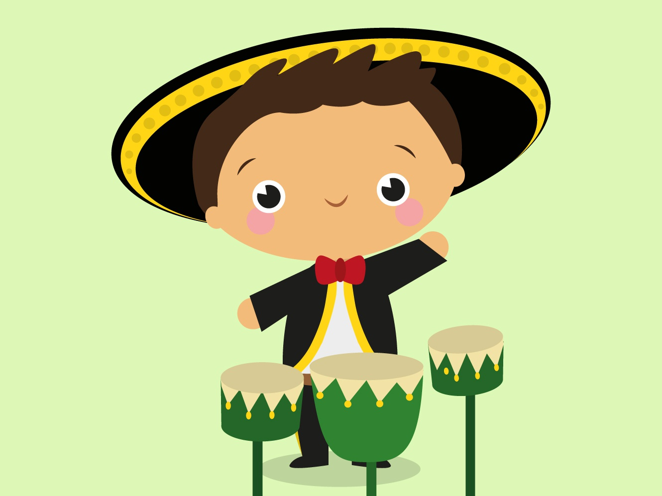Mariachi music funny cute vector design mexico mariachi mexican children illustration character cartoon illustration