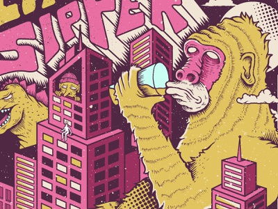 Heavy Seas Beer - City Sipper craftbeer pink ipa cityscape city godzilla gorilla ape handlettering hand drawn illustration beer label beer art beer can