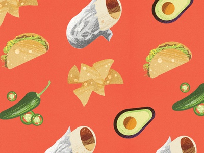 I'm hungry mexican restaurant mexican food food avacado burrito branding vector pattern texture design illustration