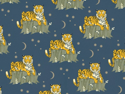 Feed your husband to the tigers tiger wallpaper vintage vector pattern texture design illustration