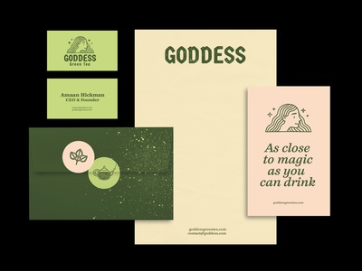 Goddess Green Tea icon illustration logo branding vintage pattern vector texture design