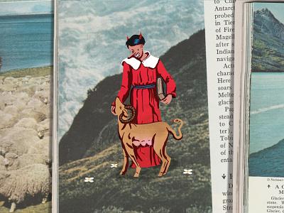 Saint saint collage vintage design illustration