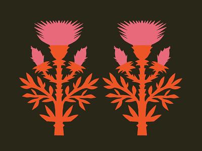Thistles papercut plant thistle pattern vector design illustration