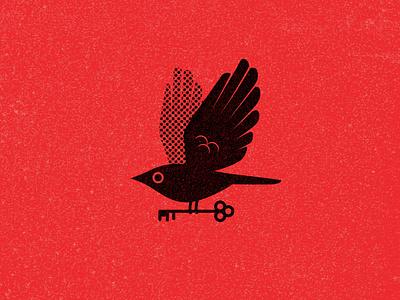 Birb halftone vintage key bird logo branding vector pattern texture design illustration