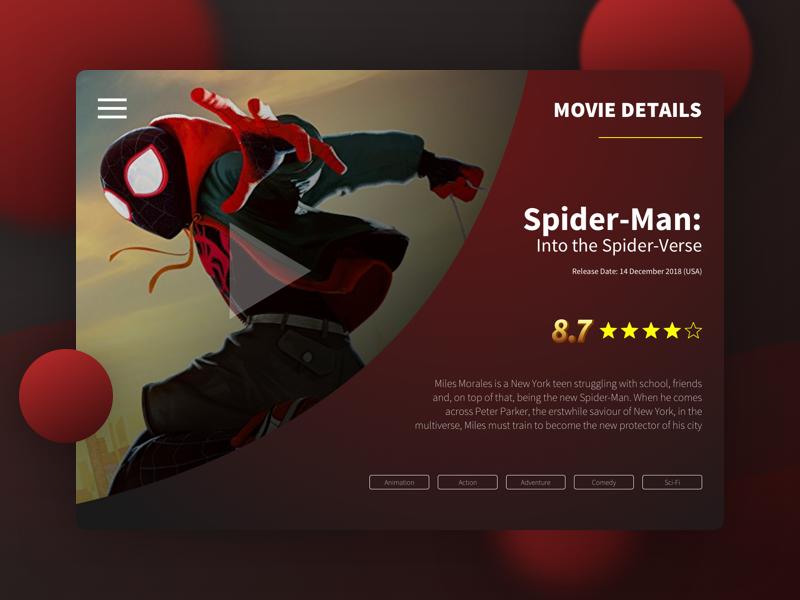 Spider-man Movie movie card movie app movie web concept header futuristic dark banner ux design ui app