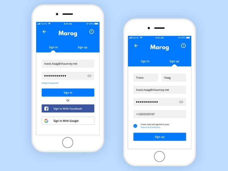 Sign in and Sign up Forms blue clean material ios daily challange daily sign up sign in mobile app concept design ux ui