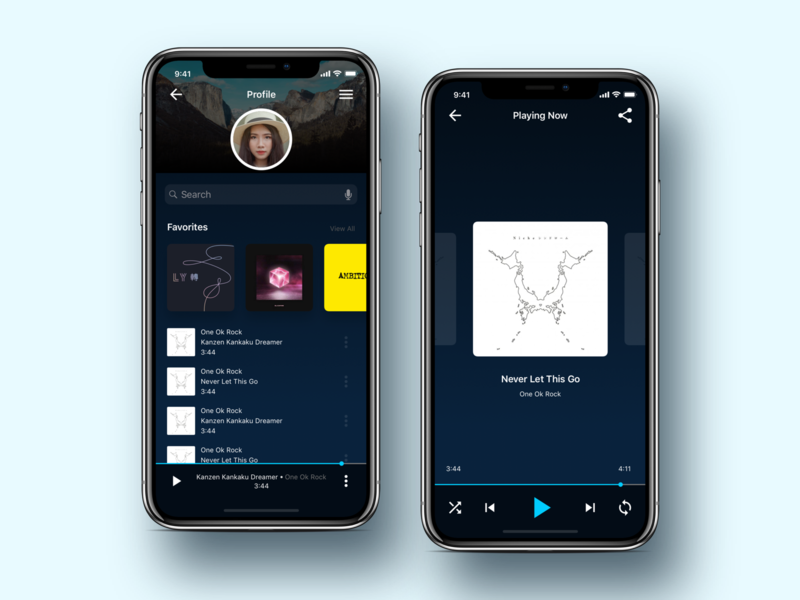 Music Player Profile profile music music player ios dark mobile clean app design concept ux ui