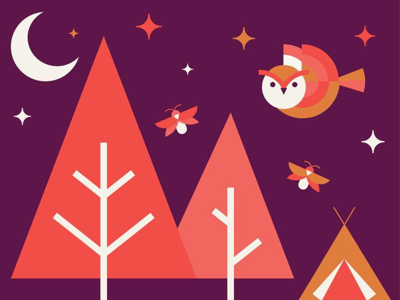 Summer Night camping owl illustration fireflies calendar design for good graphic design illustration