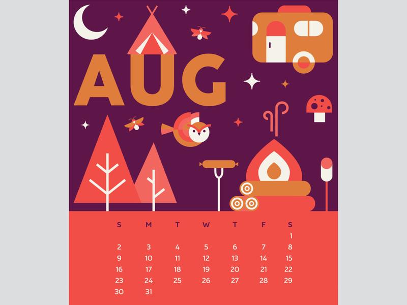 August 2020 Calendar Page outdoors outdoor adventure calendar icon design design for good graphic design illustration