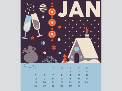 2020cal JAN january calendar graphic design illustration design