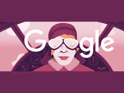 Amelia Earhart woman illustration woman portrait people graphic motiongraphics animation 8thmarch google doodle