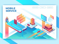 Isometric illustration for mobile travel service