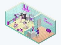 Dry cleaners or laundry service isometric 3d illustration