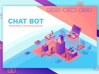 Chat bot isometric 3d illustration