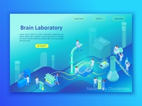 Laboratory researching brain isometric concept
