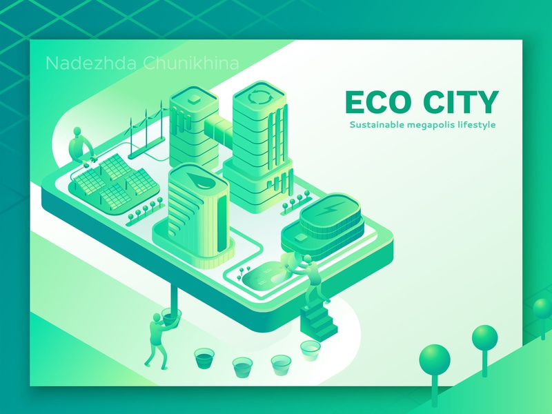 Smart Eco City environment green web ecology design ui page landing illustration vector 3d isometric