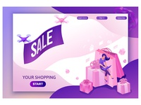 Sale isometric landing page