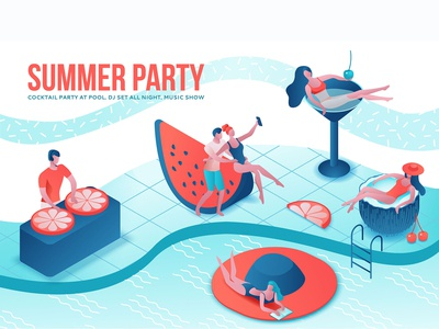 Summer party isometric 3d illustration