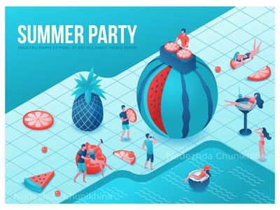 Summer party  isometric illustration