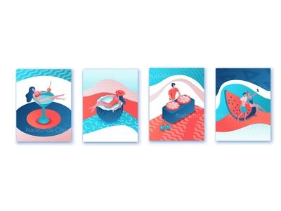 Summer isometric poster set
