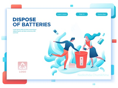 Dispose of batteries recycling battery ecology cartoon flat ux ui page landing people design illustration vector