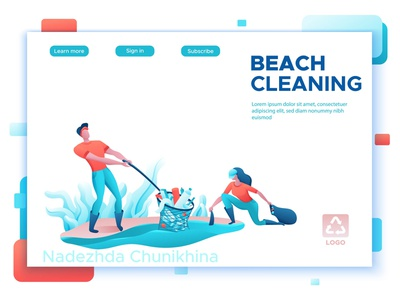 Beach cleaning volunteers cleaning beach people design illustration vector ecology