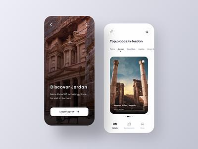 Discover Jordan splash screen homepage discover tourism jarash petra jordan app design clear ux ui
