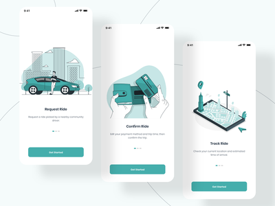 Onboarding Pages mobile ios onboarding screens onboarding screen onboarding hive careem uber app vector design clear ux ui