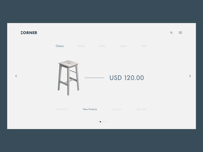 Furniture Website - Categories vector sofa category chair furniture clear landing page web design ux ui