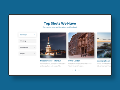 Photographer Website categories filter photographer images clear vector web ux design ui