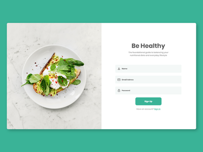 Signup Page food signup page signup vector design clear ux ui