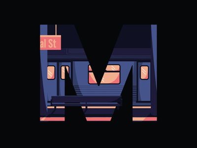36 Days Of Type- METRO illustration digital typo type typography metropolis illustration 36daysoftype07 36daysoftype 36days lettering letters letter newyork underground subway train metro