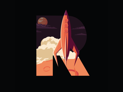 36 Days Of Type- ROCKET digital 36daysoftype07 illustration 36daysoftype 36days typography typo type letters letter lettering rocketship planet space rocket
